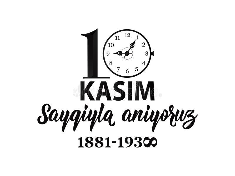Vector illustratie herdenkingsdatum 10 November dood dag Ataturk Het Engels: 10 november, eerbied en herinnert zich stock illustratie