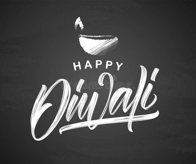 Vector illustratie Het met de hand geschreven kalligrafische type van letters voorzien van Gelukkige Diwali met lamp op bordachte stock illustratie