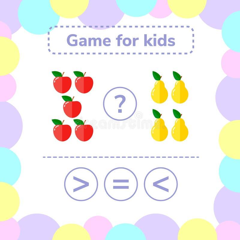 Vector illustratie Het spel van de onderwijslogica voor peuterjonge geitjes vector illustratie