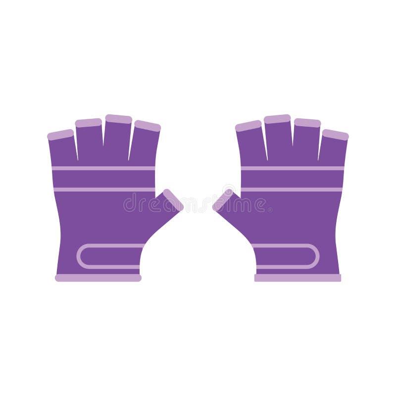 Vector illustratie Het vlakke pictogram van sporthandschoenen vector illustratie