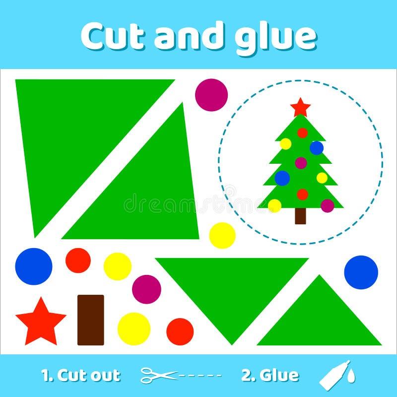 Vector illustratie Kerstboom met ballen en ster Educati royalty-vrije stock foto