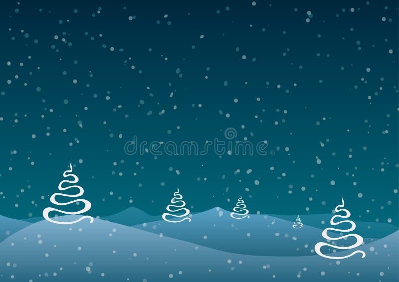 Vector illustratie Kerstmis Abstracte bomen tegen een blauwe achtergrond van dalende sneeuw royalty-vrije illustratie