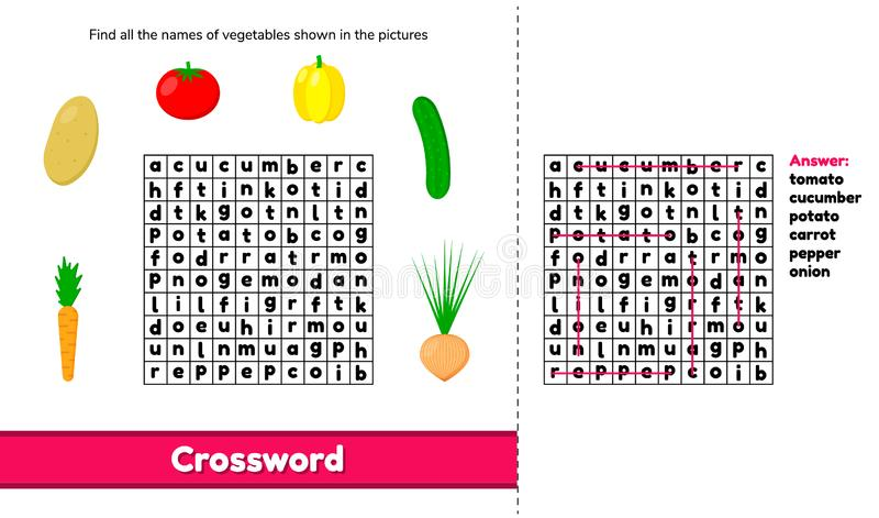Vector illustratie kruiswoordraadsel Raadselspel met woorden voor presc stock illustratie