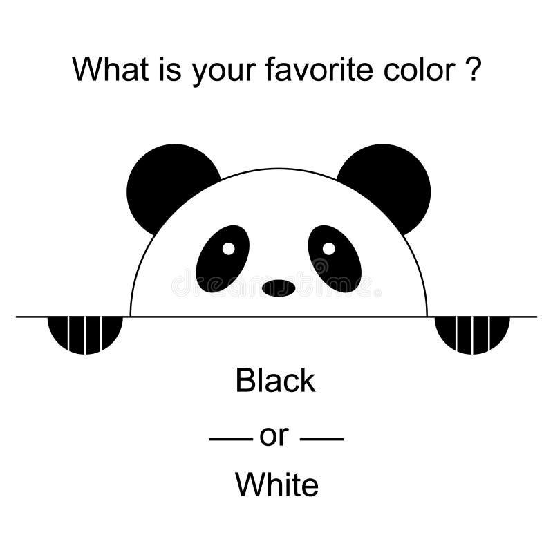 Vector illustratie Leuke panda met poten Teken van het kijken uit panda Eenvoudig teken van pand - Ontwerpsjabloon met tekst stock illustratie