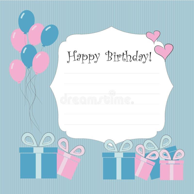 Vector illustratie malplaatje Gelukkige verjaardagskaart stock illustratie