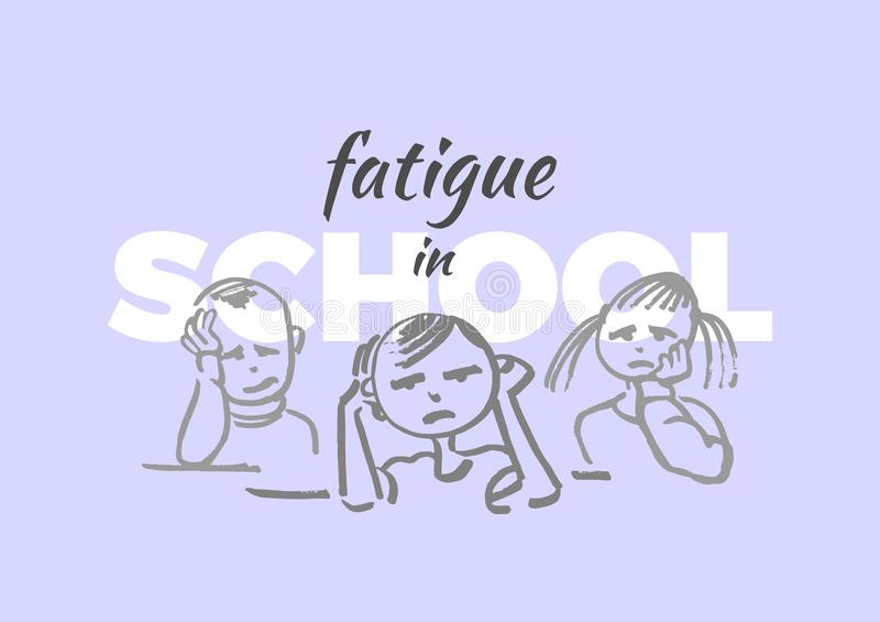 Vector illustratie Moeheid in school Kind royalty-vrije illustratie