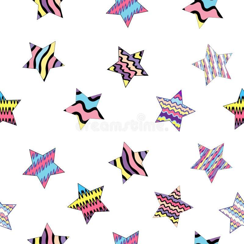Vector illustratie Mooi naadloos patroon met multicolored gestreepte sterren op de transparante achtergrond royalty-vrije illustratie