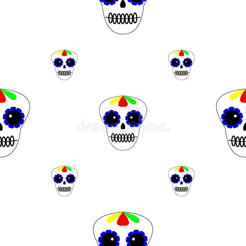Vector illustratie Naadloos patroon Dag van de Doden De pictogrammen van Diade los muertos op witte achtergrond Reeks kleurrijke  vector illustratie
