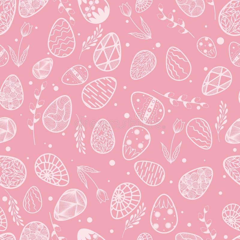 Vector illustratie Naadloos patroon Gouden ei over groene gradi?ntachtergrond Bladeren en wilgentak Pasen E Tulp royalty-vrije illustratie