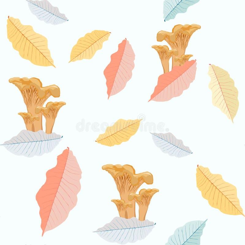 Vector illustratie Naadloos patroon met de herfstpaddestoelen en bladeren behang royalty-vrije illustratie