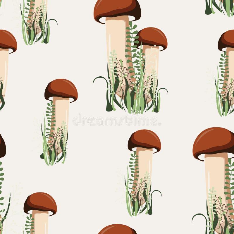 Vector illustratie Naadloos patroon met de herfstpaddestoelen en kruiden royalty-vrije illustratie