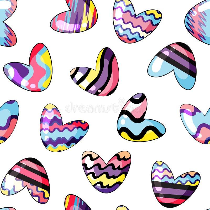 Vector illustratie Naadloos patroon met leuke die harten in regenboogkleuren worden geschilderd op transparante achtergrond stock illustratie