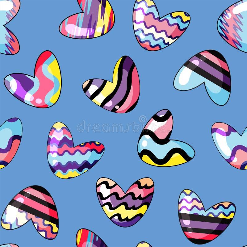Vector illustratie Naadloos patroon met leuke harten die in regenboogkleuren worden geschilderd op de blauwe achtergrond vector illustratie