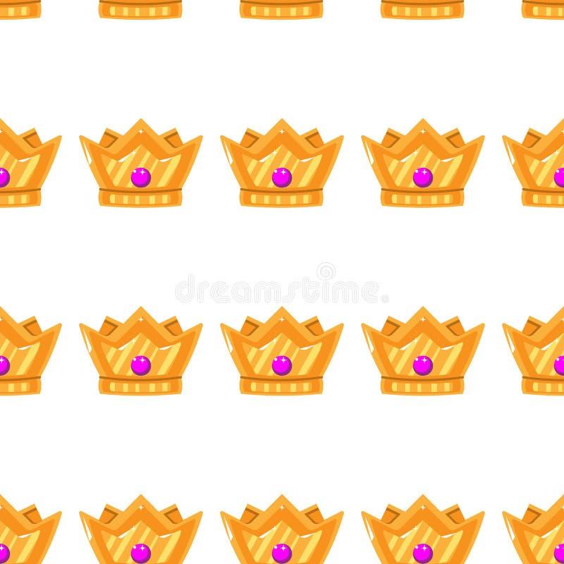 Vector illustratie Naadloos patroon van kronen Gouden Kronen met gemmen vector illustratie
