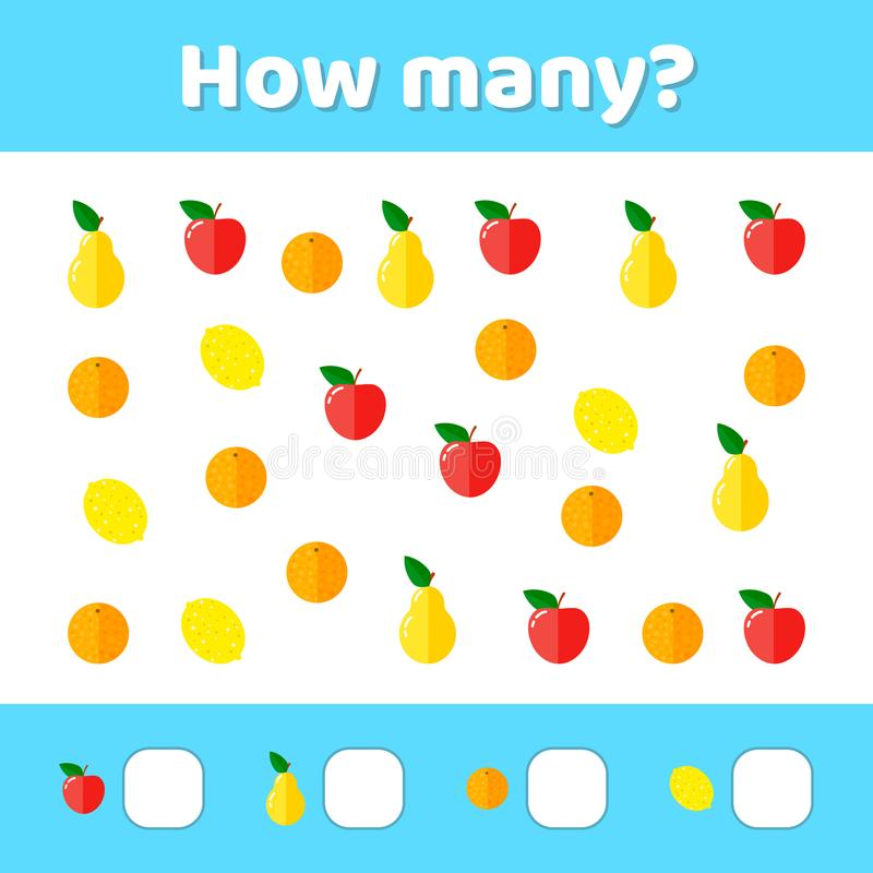 Vector illustratie Onderwijs een wiskundig spel Tellend g vector illustratie