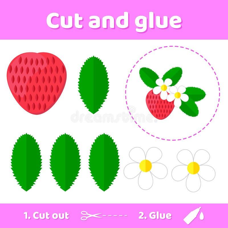 Vector illustratie Onderwijsdocument spel voor peuterjonge geitjes Gebruiksschaar en lijm om het beeld tot stand te brengen stock illustratie