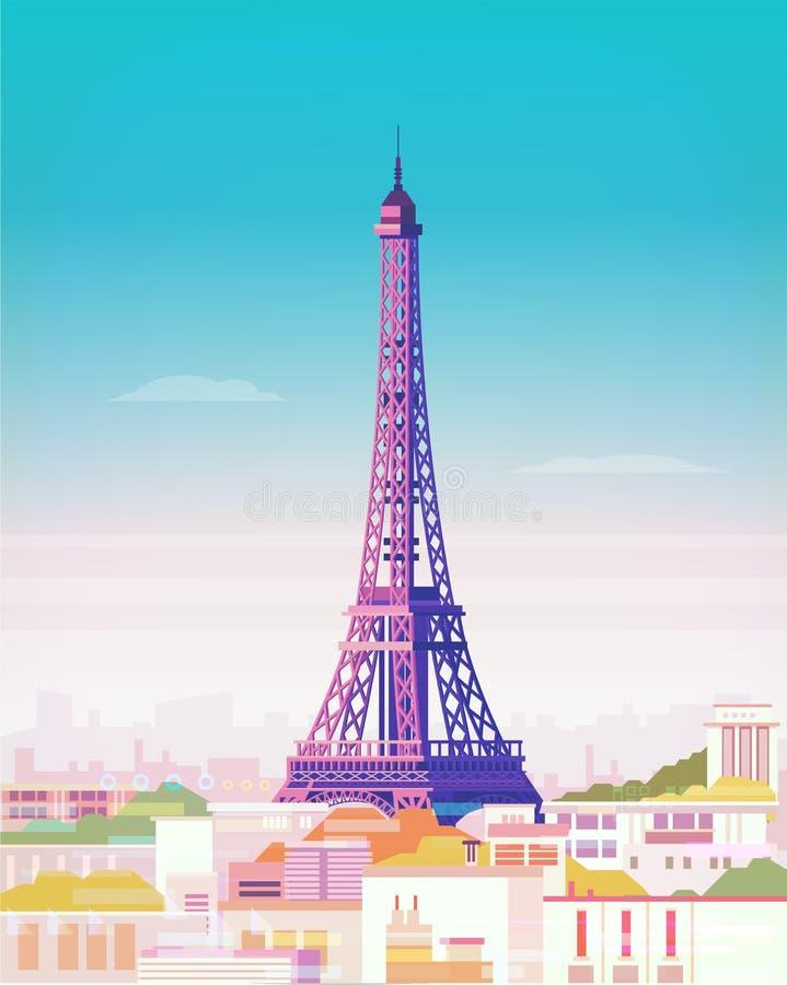 Vector illustratie parijs De Toren van Eiffel stock illustratie