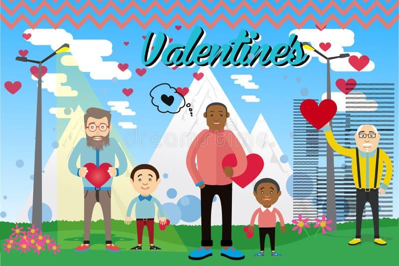 Vector illustratie Prentbriefkaar op de Dag van Valentine met de karakters royalty-vrije stock foto's