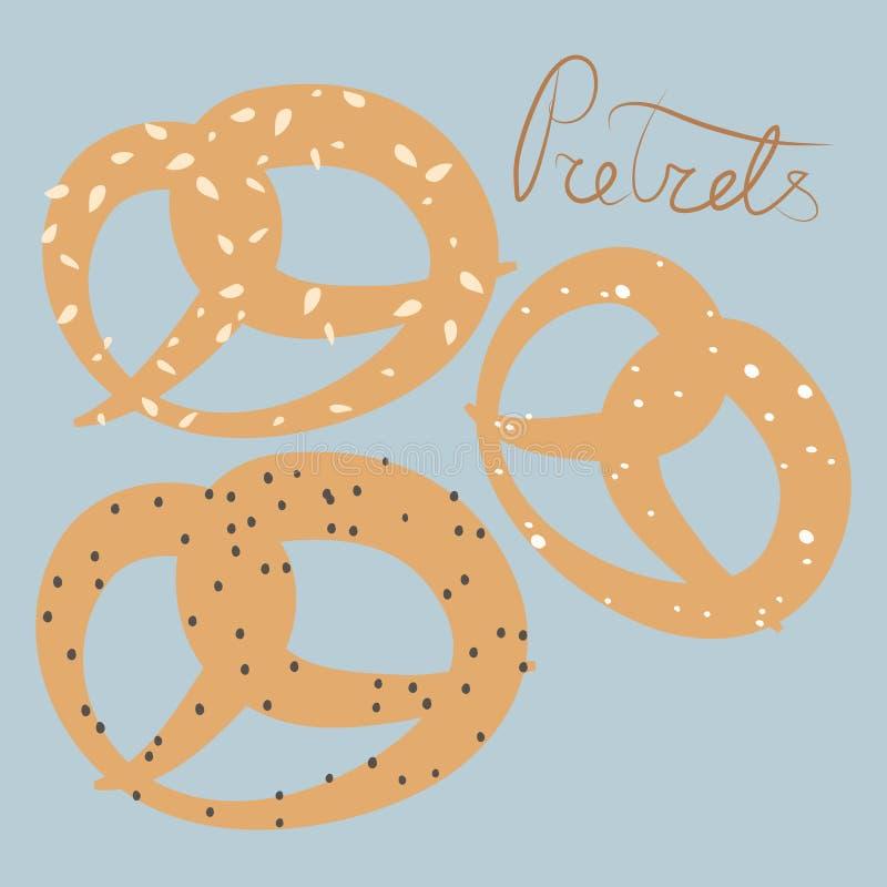 Vector illustratie Reeks boompretzels met sesam, zout en papaverzaden op pastelkleur blauwe achtergrond stock illustratie