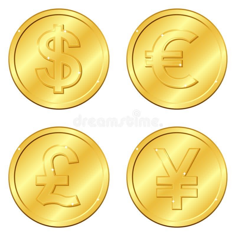 Vector illustratie Reeks gouden muntstukken met 4 belangrijke munten Dollar, Euro, Pond Sterling, Yuans of Yen spaanders editable vector illustratie