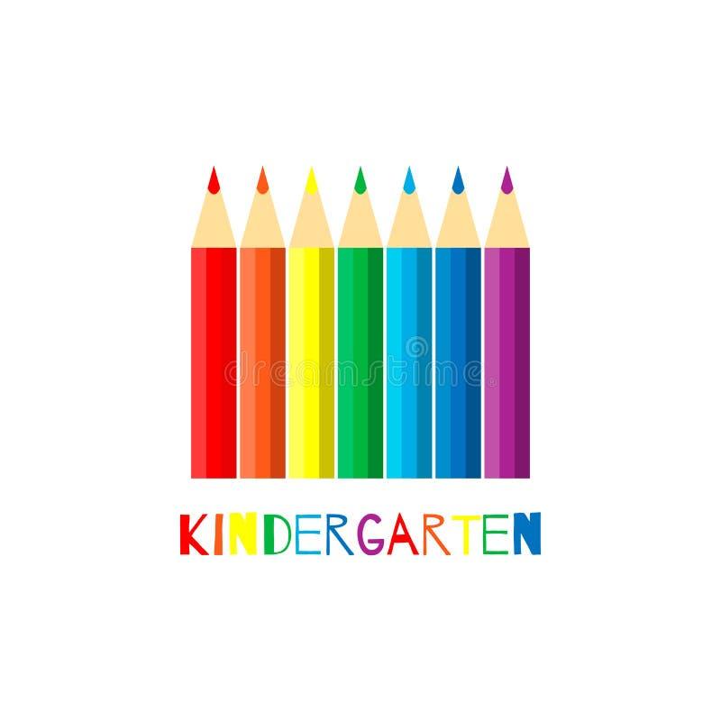 Vector illustratie Reeks regenboogkleurpotloden op witte achtergrond met het van letters voorzien Banner voor kleuterschool EPS10 royalty-vrije illustratie