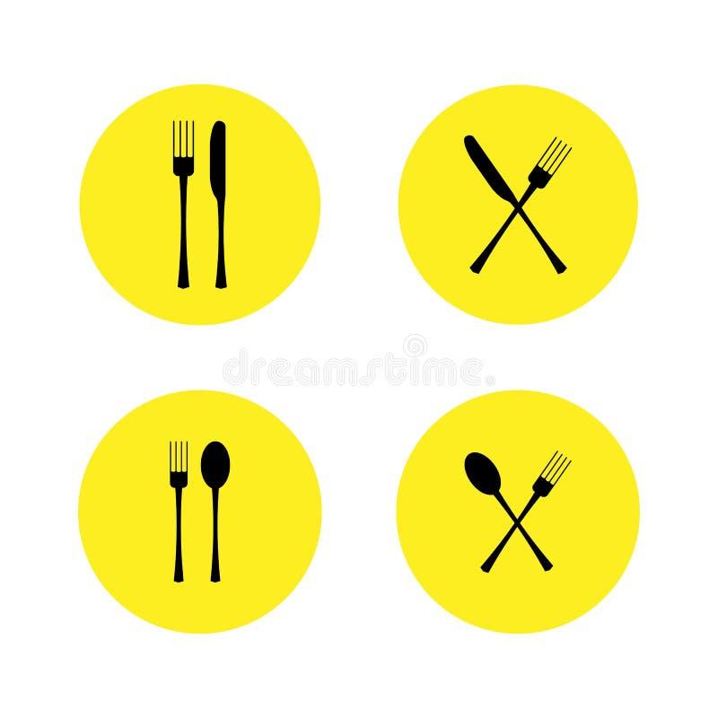 Vector illustratie Reeks van restaurantpictogram, teken vork, lepel en messen dwarspictogrammen op gele ronde achtergrond royalty-vrije illustratie