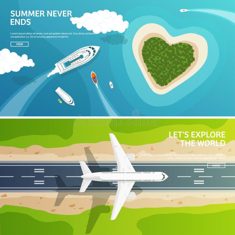 Vector illustratie Reis en toerisme Vliegtuig, luchtvaart De vakantie van de de zomervakantie Vliegtuig het landen Vluchtlucht vector illustratie
