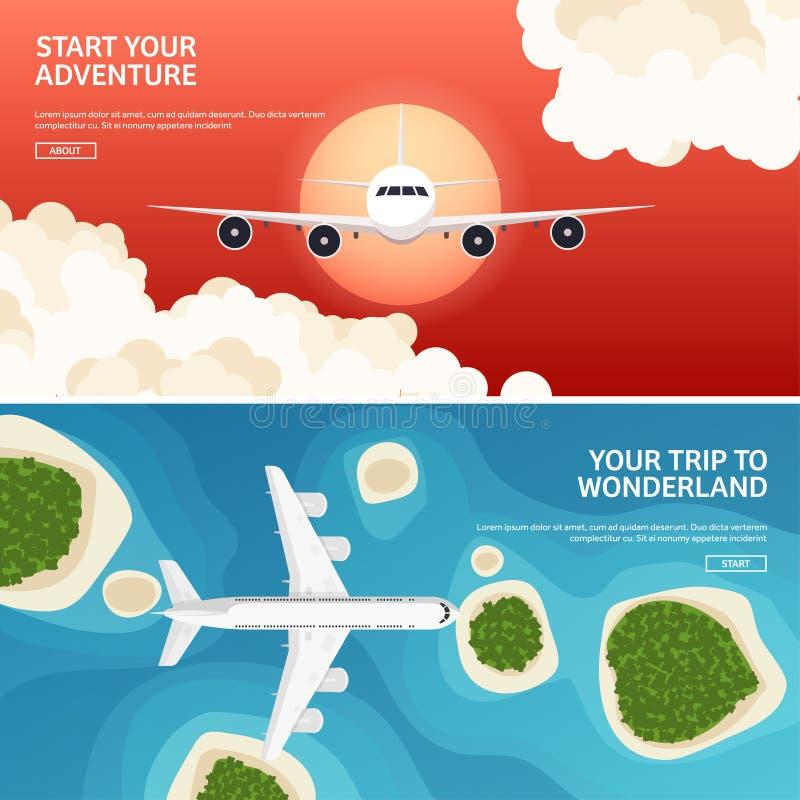 Vector illustratie Reis en toerisme Vliegtuig, luchtvaart De vakantie van de de zomervakantie Vliegtuig het landen Vluchtlucht stock illustratie