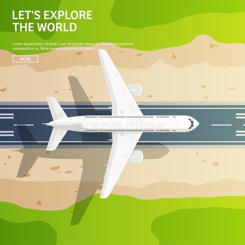Vector illustratie Reis en toerisme Vliegtuig, luchtvaart De vakantie van de de zomervakantie Vliegtuig het landen Vluchtlucht royalty-vrije illustratie