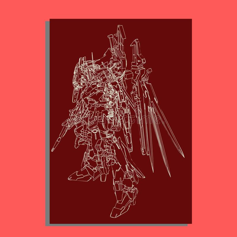 Vector illustratie robot heilige meetkunde Voor t-shirtontwerp, affiche, sticker lijnstijl - Het vector stock illustratie