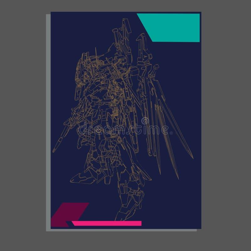 Vector illustratie robot heilige meetkunde Voor t-shirtontwerp, affiche, sticker lijnstijl - Het vector royalty-vrije illustratie