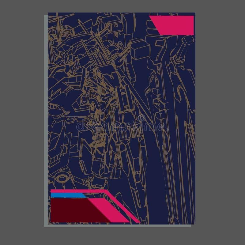 Vector illustratie robot heilige meetkunde Voor t-shirtontwerp, affiche, sticker lijnstijl - Het vector vector illustratie
