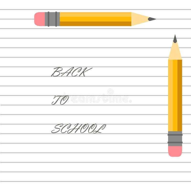 Vector illustratie Schoolontwerp Potloden op het notitieboekje Terug naar school het van letters voorzien vector illustratie