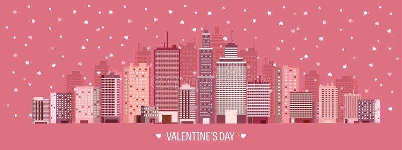 Vector illustratie Stad met harten De dag van liefdevalentijnskaarten 14 Februari Cityscape stad royalty-vrije illustratie