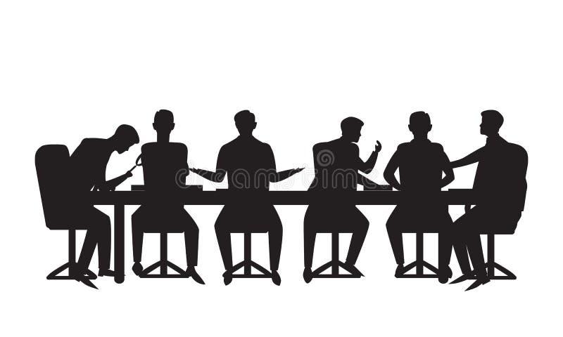 Vector illustratie Teamvergadering in bedrijfsconcept Groep zakenlieden die besprekingsmededeling van groepswerkvennootschap doen vector illustratie