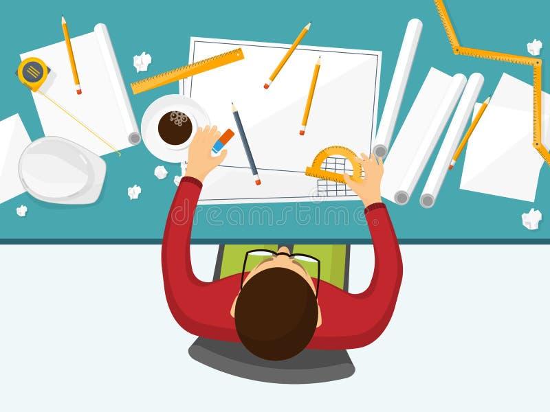 Vector illustratie Techniek en architectuur Tekening, bouw Architecturaal project Ontwerp, het schetsen stock illustratie