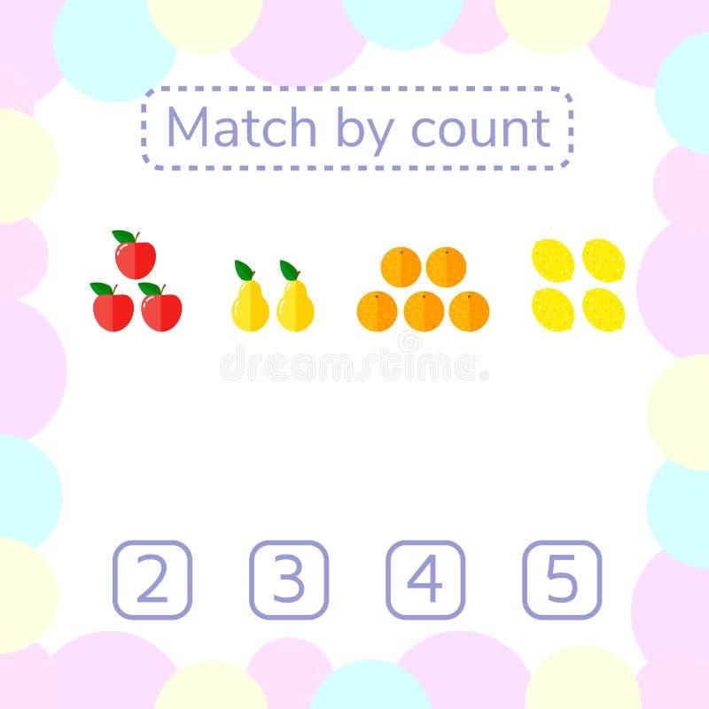 Vector illustratie Tellend Spel voor Peuterkinderen stock illustratie