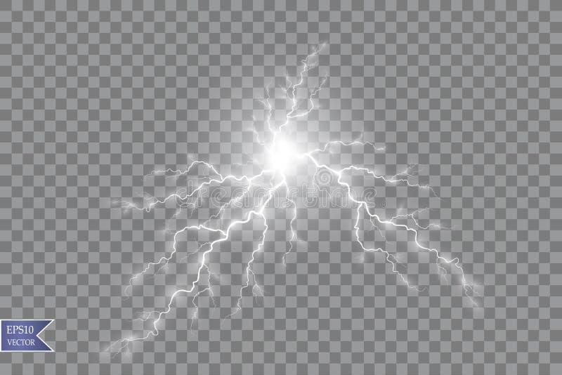Vector illustratie Transparant lichteffect van elektrische balbliksem Magische plasmaenergie vector illustratie