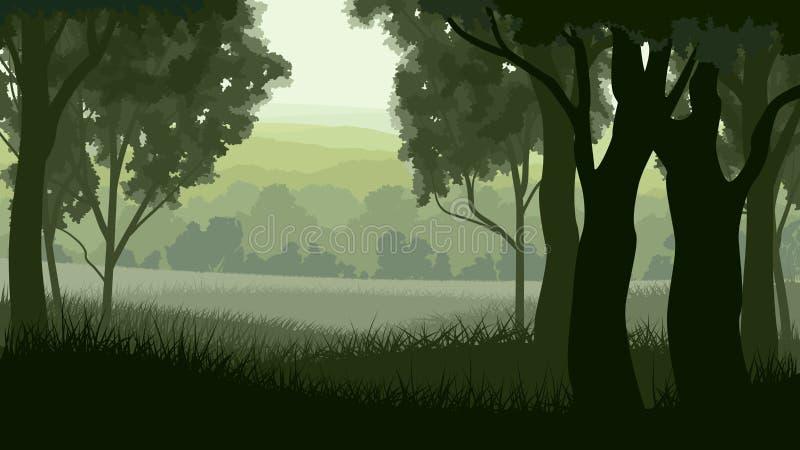 Horizontale illustratie binnen Greenwood bos. stock illustratie