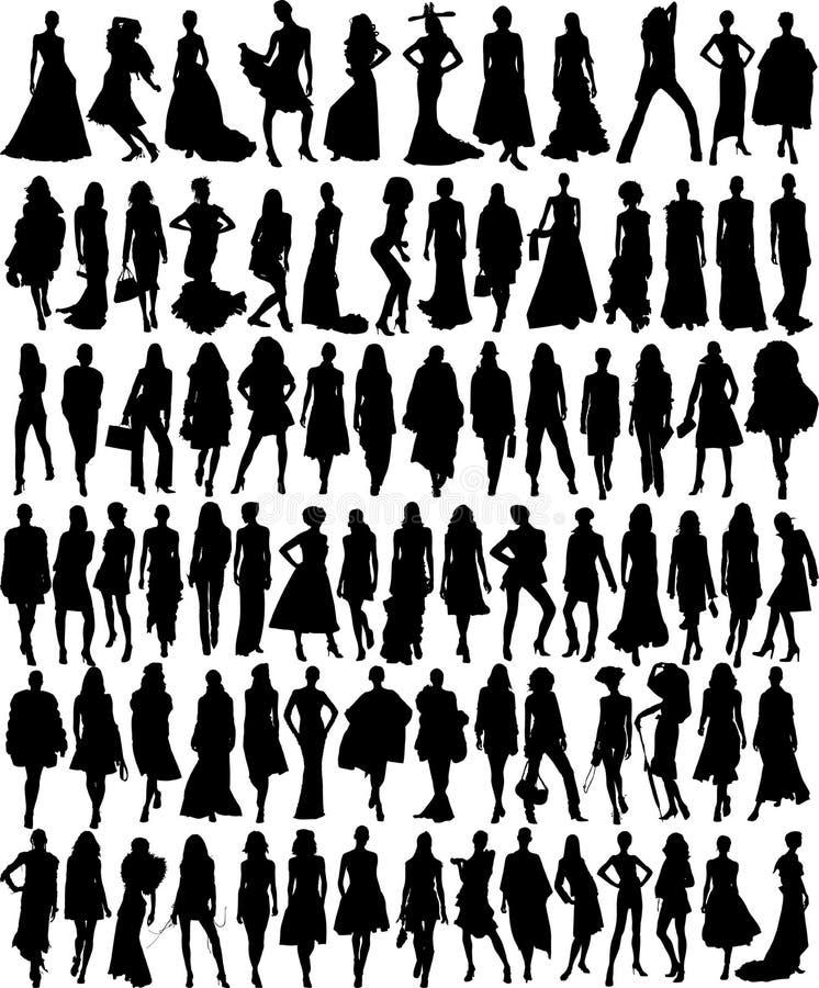 Vector illustratie van de vrouwelijke modellen van de Glamour vector illustratie