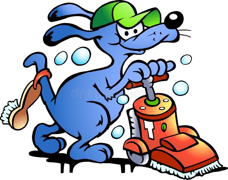 Vector illustratie van een Reinigingsmachine van het Tapijt van de Hond royalty-vrije illustratie