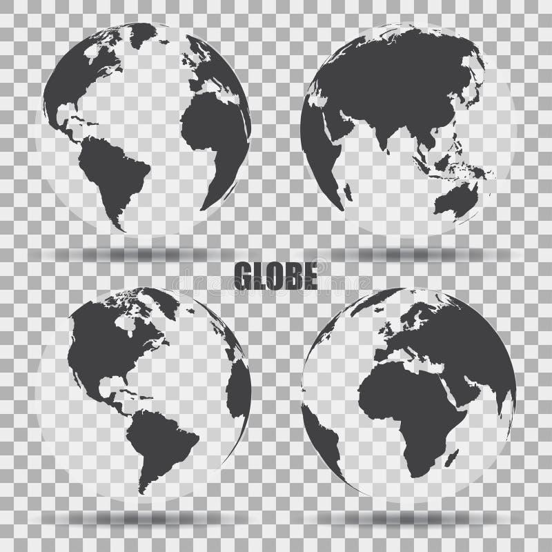 Vector Illustratie van grijze bolpictogrammen met verschillende continenten Transparante Achtergrond Realistische schaduw royalty-vrije illustratie