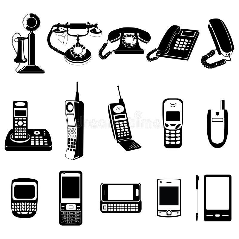 Geplaatste de evolutiepictogrammen van de telefoon