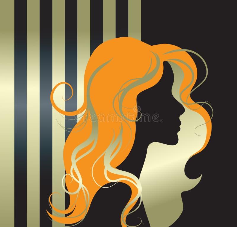 Vector illustratie van meisjessilhouet stock fotografie