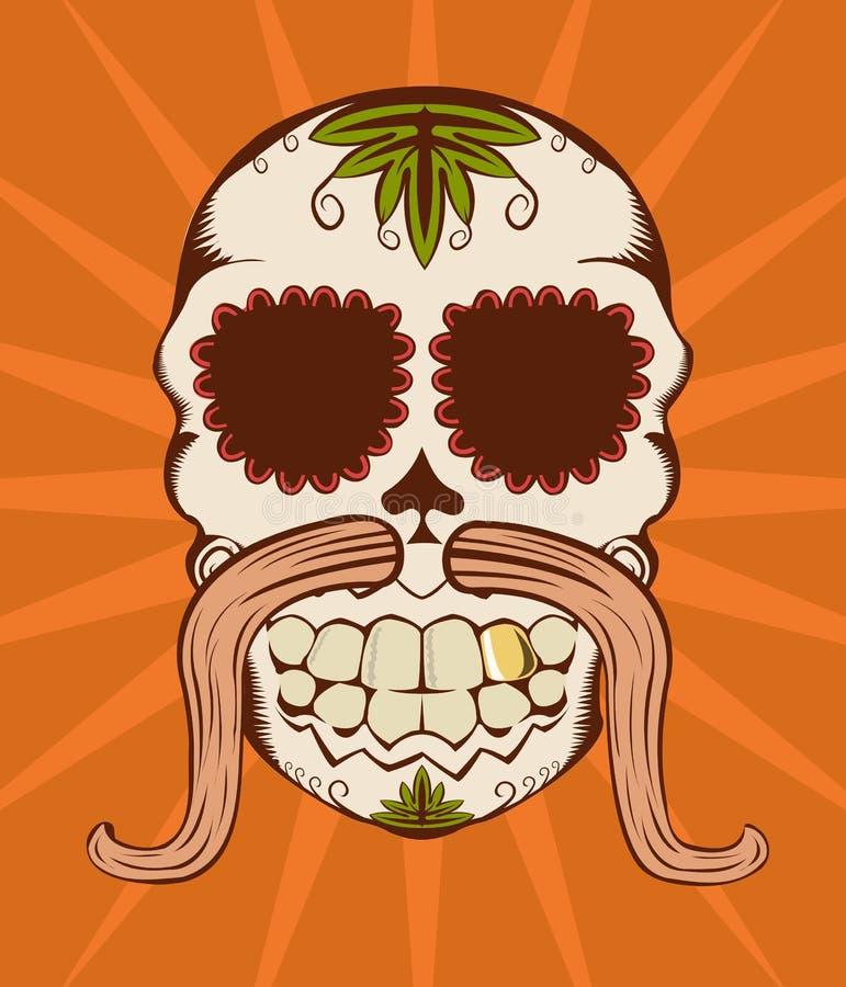 Vector illustratie van oranje suikerschedel royalty-vrije illustratie