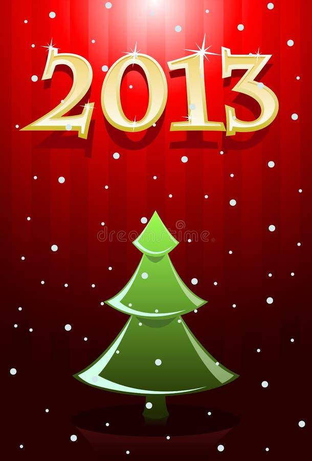 Vector illustratie van rode en gouden Nieuwjaarskaart royalty-vrije illustratie