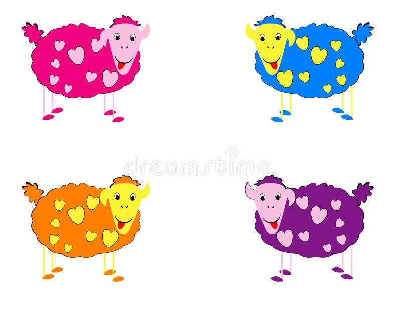 Vector illustratie van sheeps stock foto's