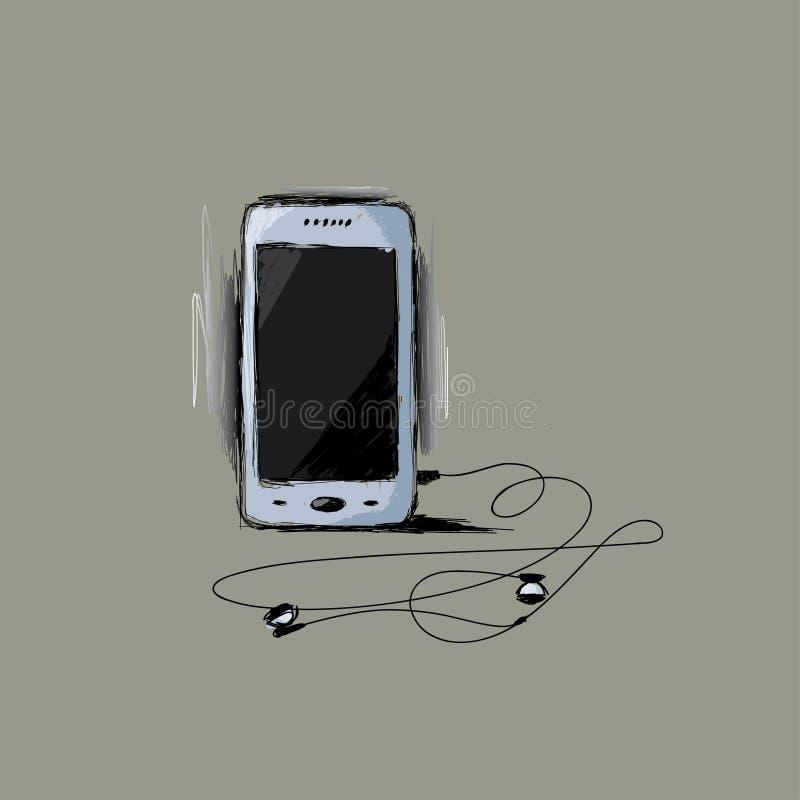 Geschilderde slimme telefoon stock illustratie