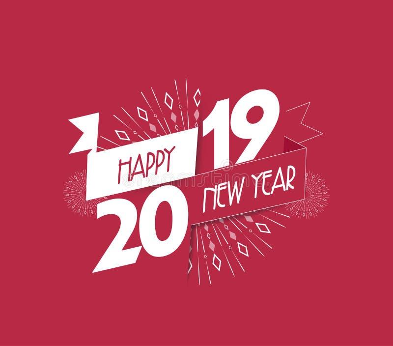 Vector illustratie van vuurwerk Gelukkige nieuwe jaar 2019 achtergrond royalty-vrije illustratie