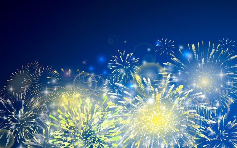 Vector illustratie van vuurwerk Realistische abstracte feestelijke achtergrond met gele en rode uitbarstingen, explosie en vector illustratie